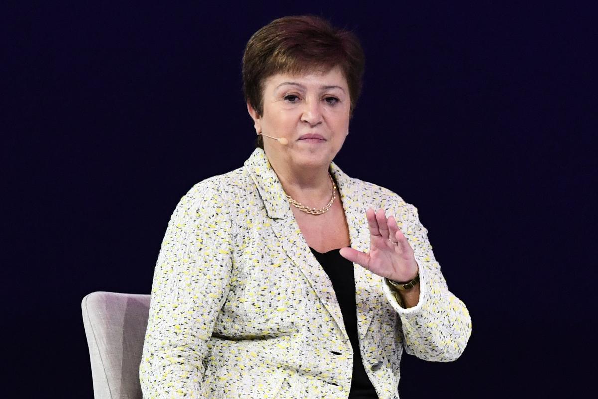 國際貨幣基金(IMF)總裁喬治艾娃(Kristalina Georgieva)。(KARIM SAHIB/AFP via Getty Images)
