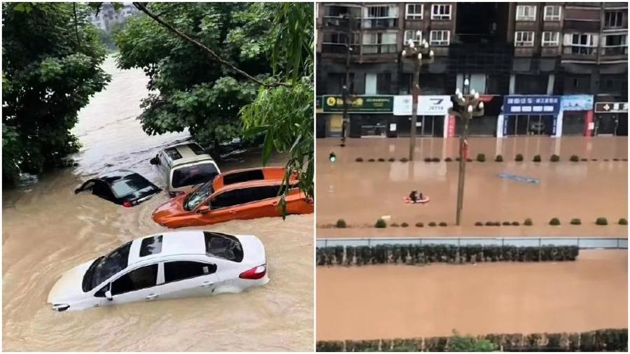 四川巴中暴雨釀災 內澇嚴重 洪水吞噬船隻