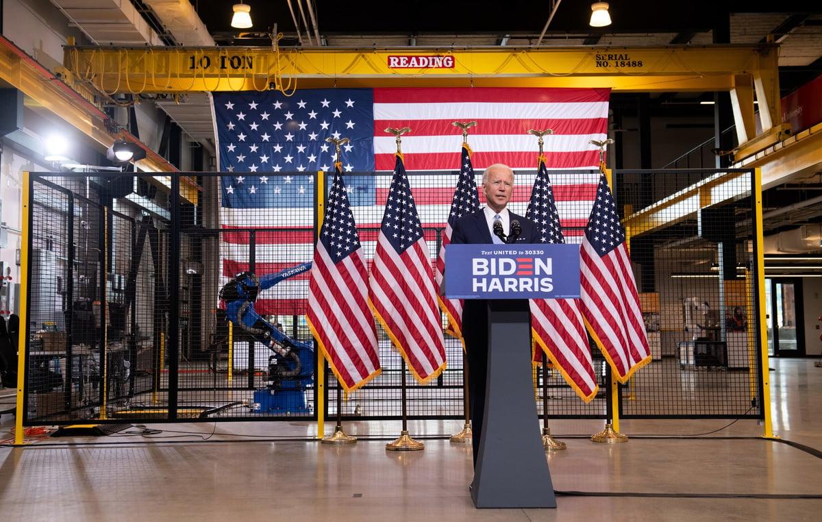 民主黨總統候選人喬·拜登(Joe Biden)2020年8月31日在匹茲堡發表提名後首場演說,譴責暴力,同時對尋求連任的現任總統特朗普的「法律與秩序」政綱展開語言攻勢。(SAUL LOEB/AFP)