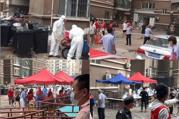 2020年7月27日,大連的疫情已擴散但北京。圖為北京天通苑三區的所在樓區居民排隊進行核酸檢測。(影片截圖)