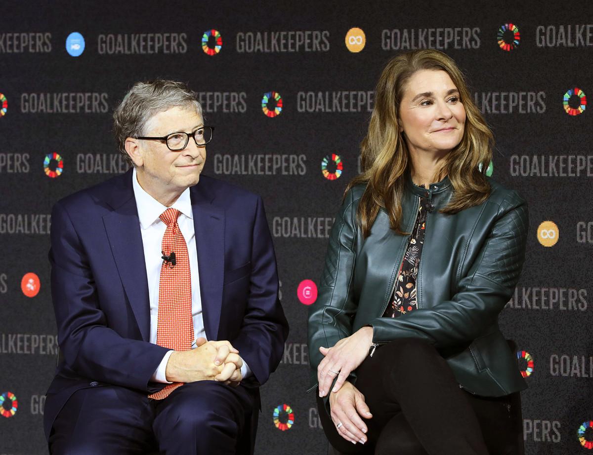 2018年9月26日比爾和梅琳達‧蓋茨(Bill and Melinda Gates)夫婦在林肯中心參加「守門員」(Goalkeepers)活動。(Ludovic MARIN/AFP)