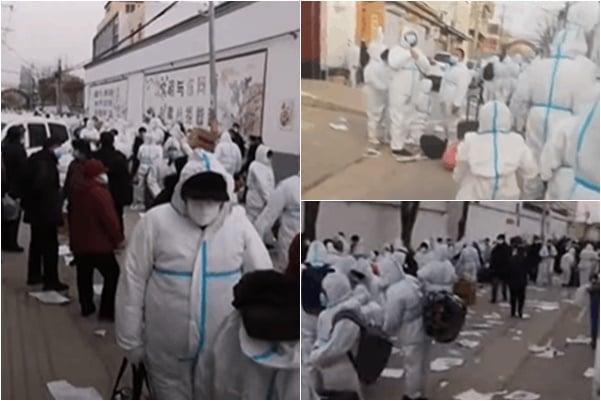 2021年1月13日,邢台市南宮的三里莊村因有4人確診,村民全部被拉至邢台隔離。(影片截圖)