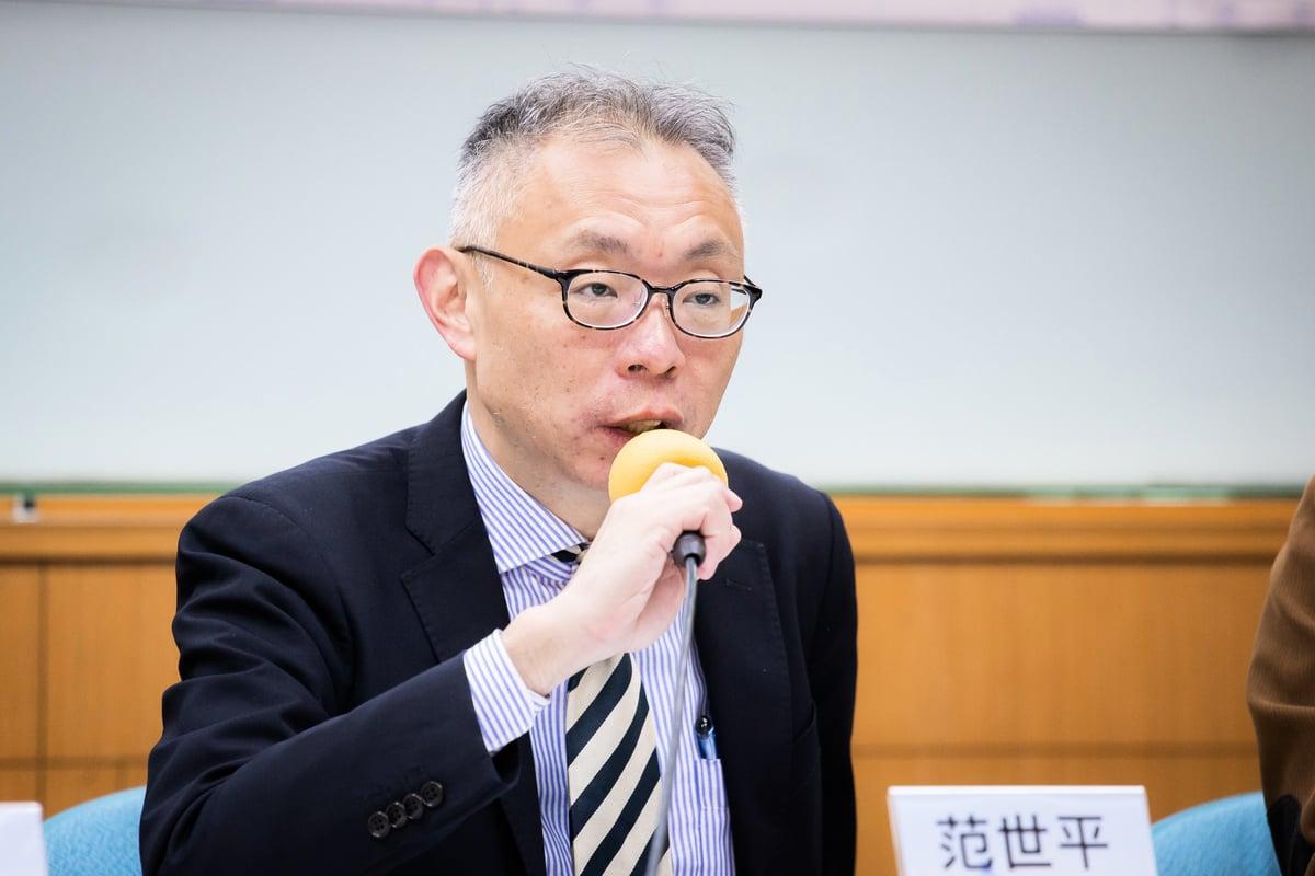台灣師範大學政治學系教授范世平12月27日出席「誰在反對『反滲透法』?」座談會。 (陳柏州/大紀元)