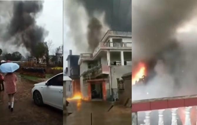 3月1日下午,江西省氣象局租用的北大荒通用航空公司的一架飛機執行人工增雨任務時,在江西吉安縣墜落並爆炸,機上5人死亡,損毀3棟民房,1村民受傷。(影片截圖合成)