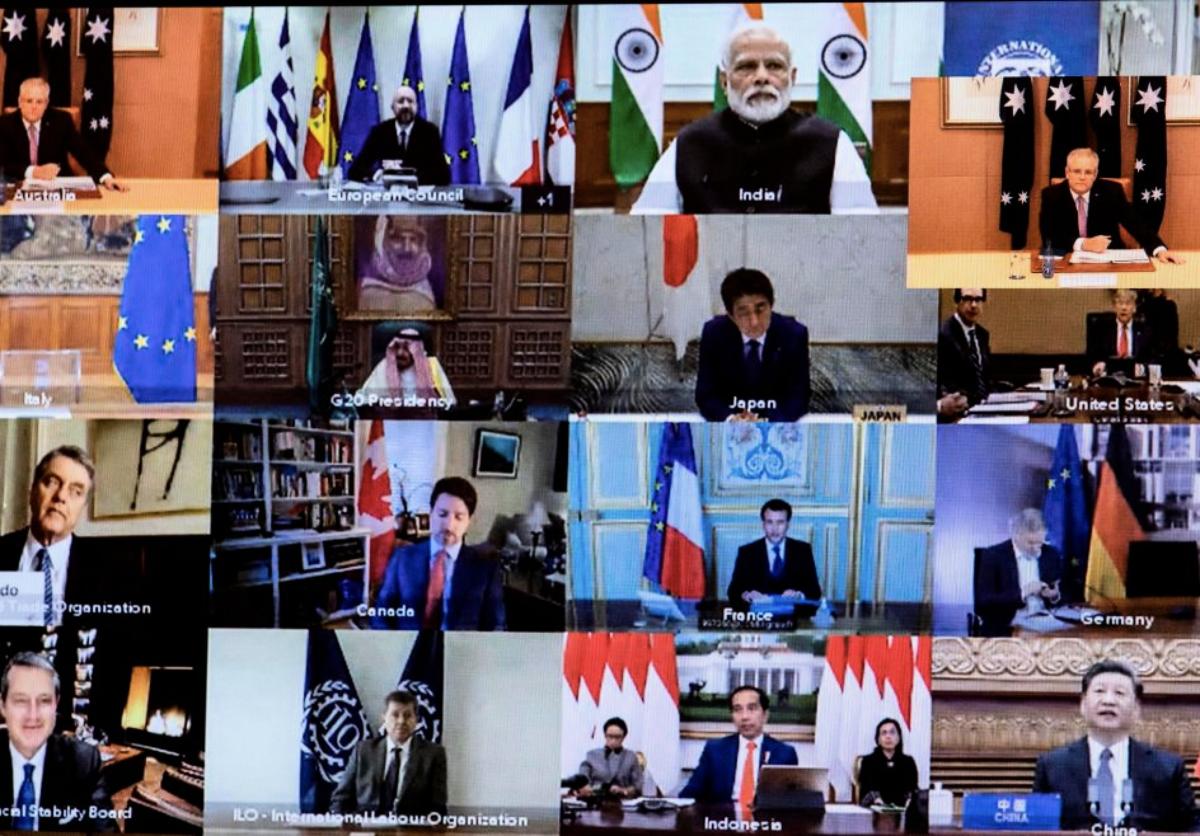 2020年3月26日,G20集團召開第一次網絡會議。(GARY RAMAGE/POOL/AFP via Getty Images)