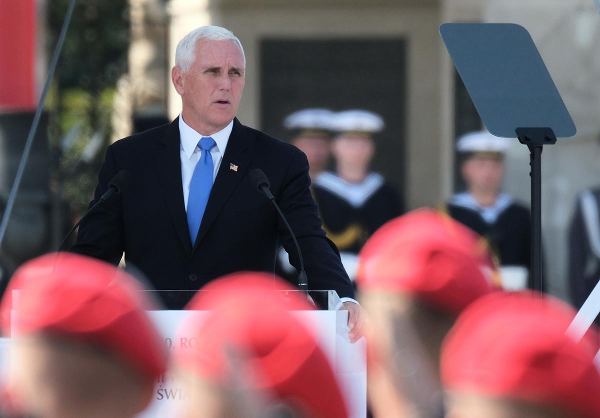美國副總統彭斯在華沙紀念二戰爆發八十周年上發表演講。(Sean Gallup/Getty Images)