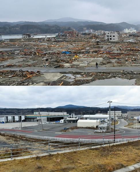 日本311大地震重災區宮城縣南三陸町(Minamisanriku,Miyagi)的今昔對比圖。上圖攝於2011年3月16日,下圖攝於2021年3月14日。(KAZUHIRO NOGI/AFP via Getty Images)