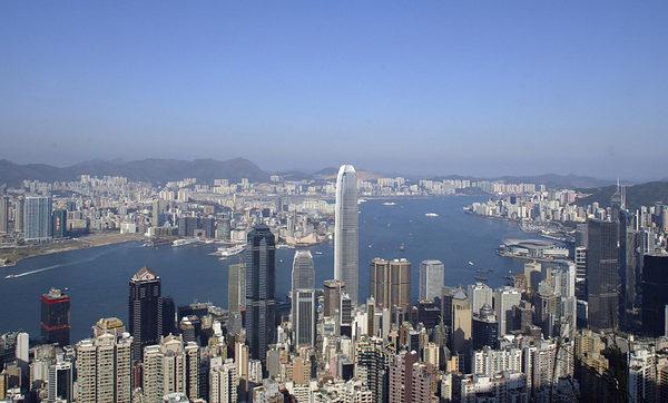 香港維多利亞港鳥瞰。(PETER PARKS/AFP/Getty Images)