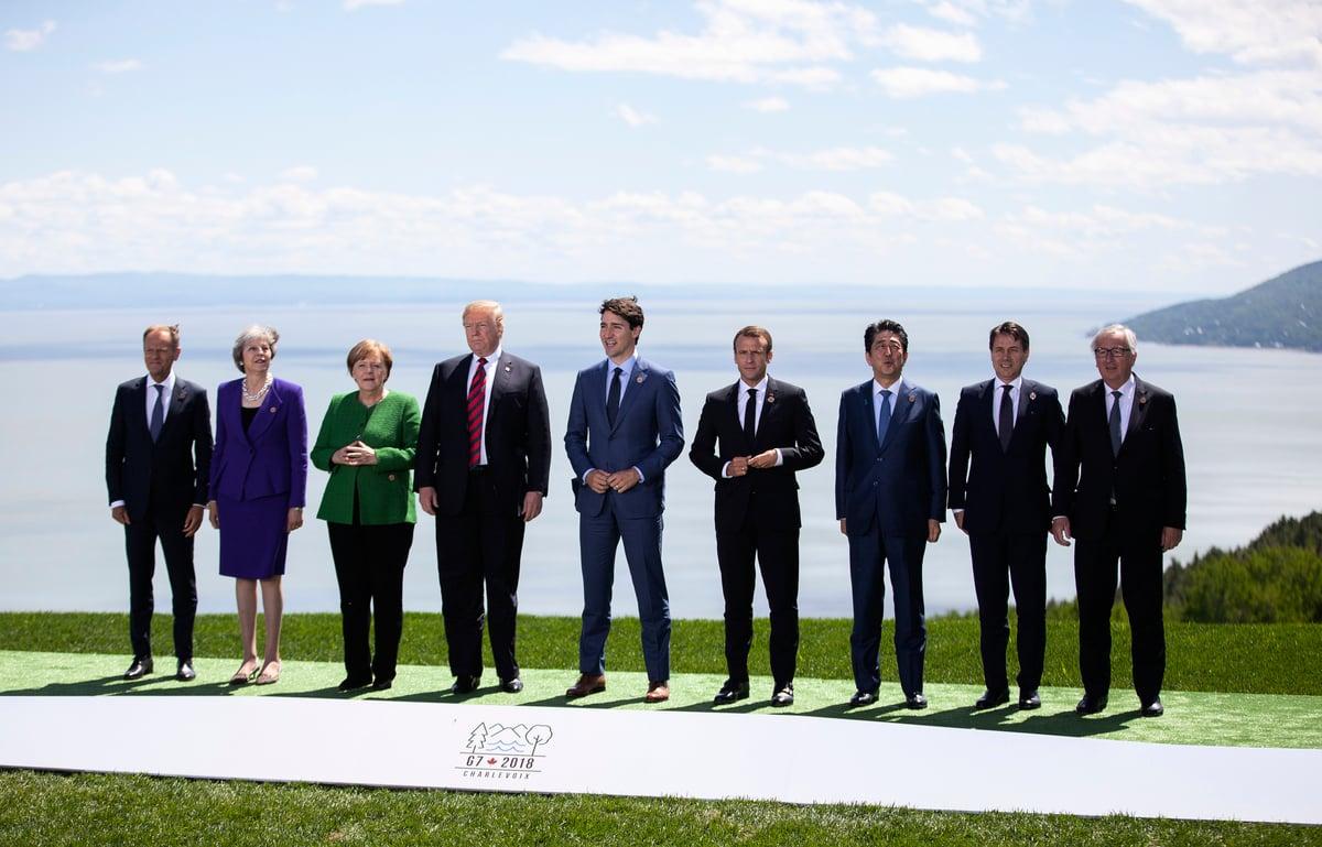 除美國外,最近幾個月,德國、法國、英國、歐盟、澳洲、日本和加拿大都加入了對中共投資的強烈反對行列。圖為G7國家和歐盟元首合照。(GEOFF ROBINS/AFP)