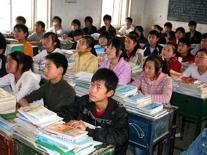 安徽省一所學校,學生們正在上課。示意圖(AFP)