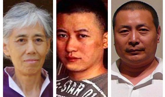 (從左至右)中國航空航天部電子設備工程師兼畫家岳昌智遭綁架八次、冤獄4年,福建籍著名油畫家范一鳴被非法勞教2年,北京著名油畫家王明月被非法勞教。(大紀元合成圖)