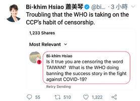 WHO屏蔽「台灣」蕭美琴:採用中共審查制度