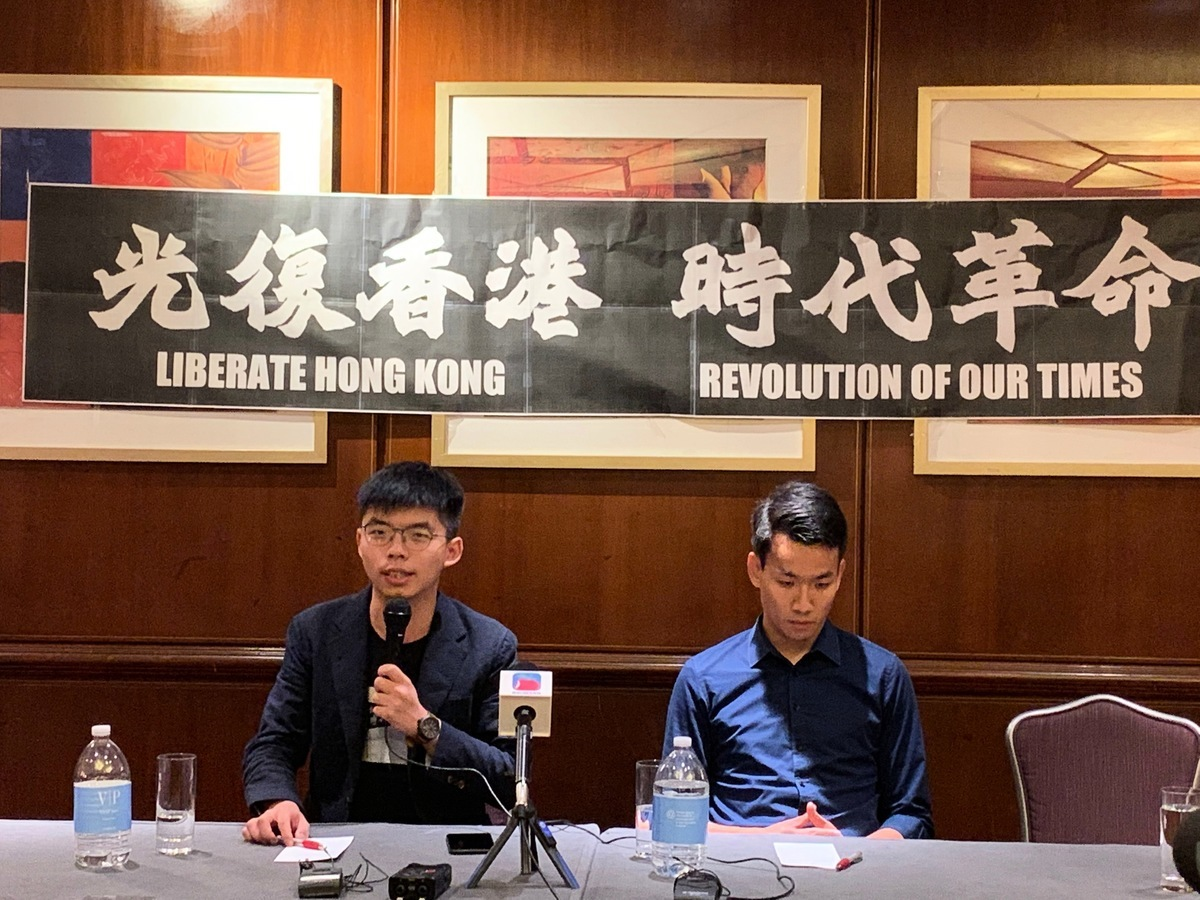 黃之鋒表示,本次香港抗爭沒有領袖,香港人是自發地去做,他所扮演的角色是在國際社會上爭取更多的支持。(林丹/大紀元)