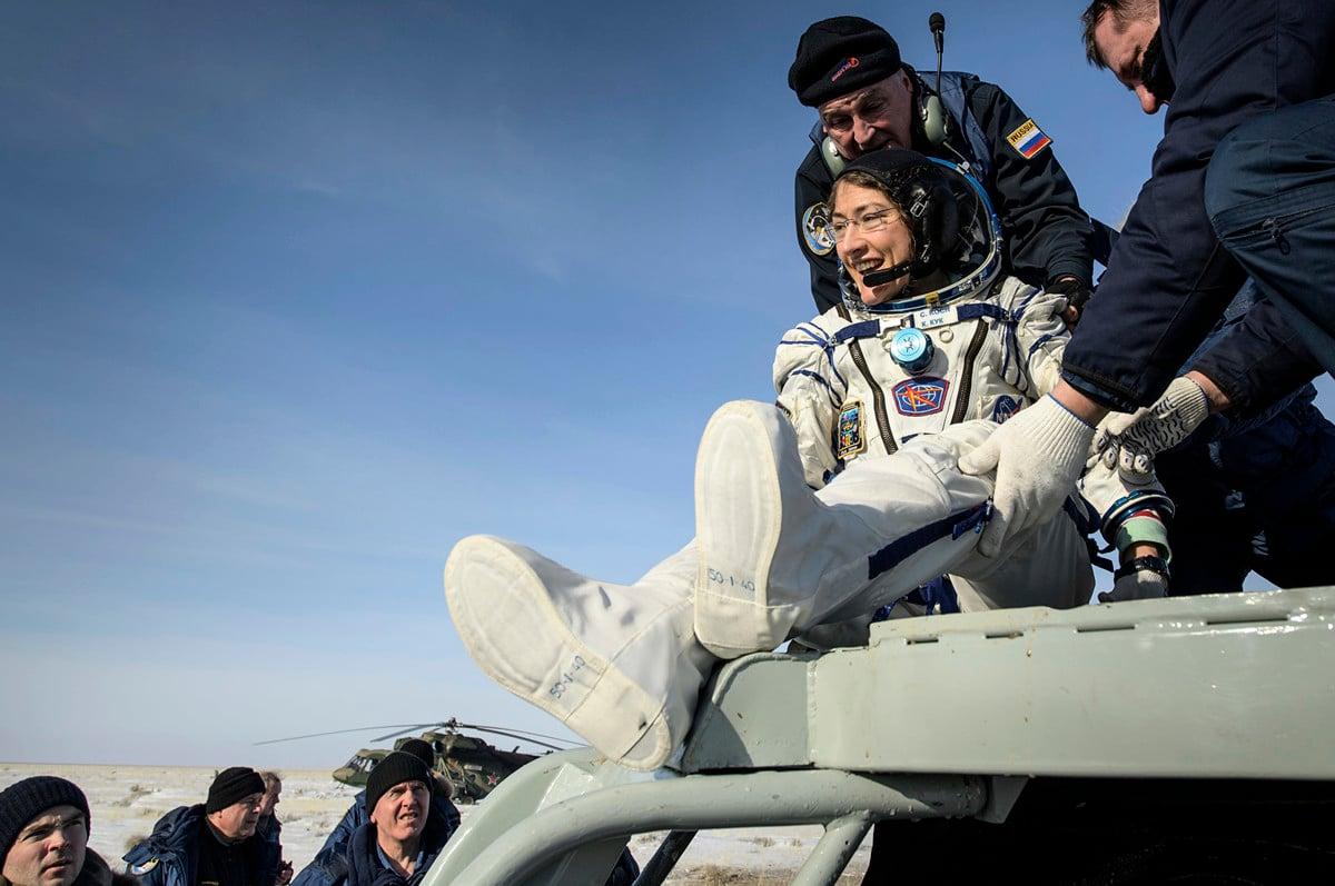 NASA女太空人科赫在2月6日返回地球,以328天創下女太空人在太空中停留最長時間的紀錄。(NASA)