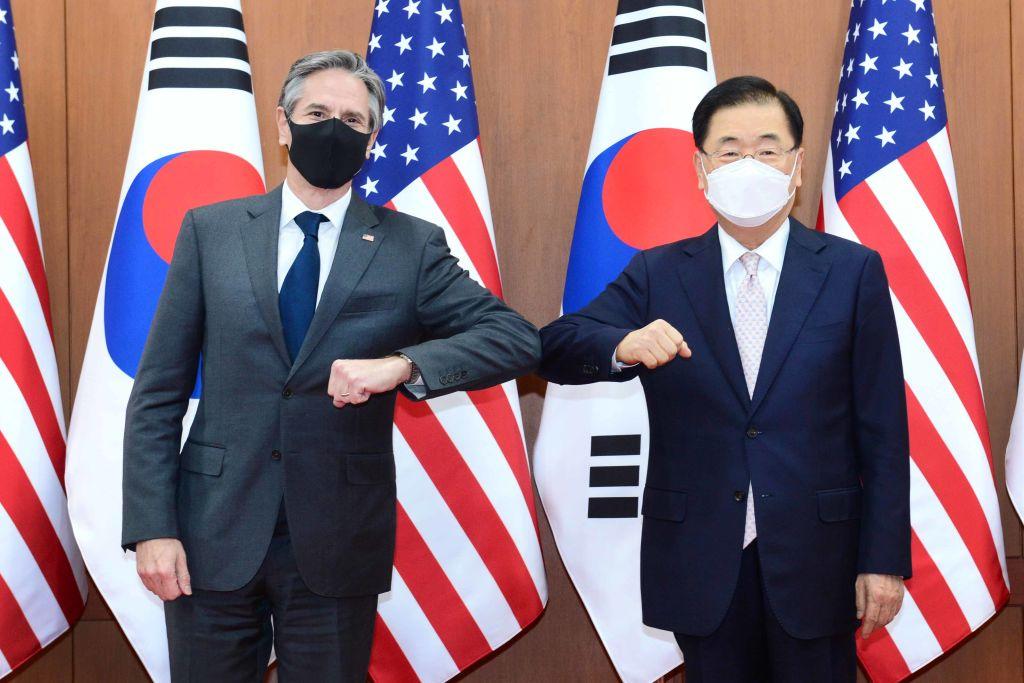 周三(3月17日)美國國務卿布林肯與南韓外長鄭義溶會談。(South Korean Foreign Ministry via Getty Images)