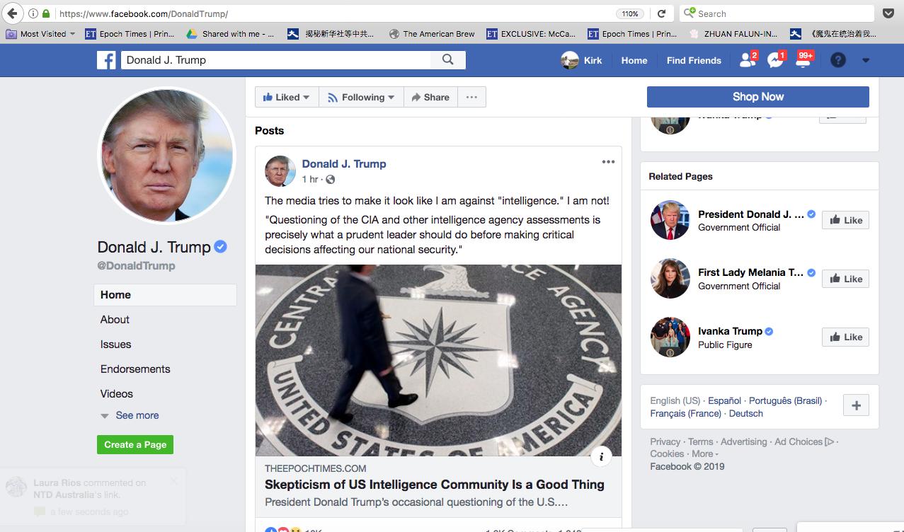 美國總統特朗普1月31日在臉書轉發英文大紀元的專欄文章(題為「對美國情報界的質疑主義是一件好事」)。(特朗普臉書截圖)