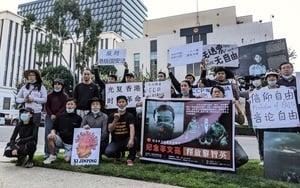 加州華人中領館前呼籲:讓異見人士回家過年