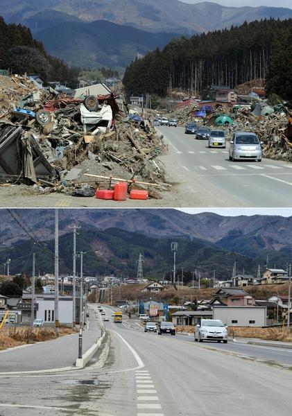 日本311大地震重災區岩手縣陸前高田(Rikuzentakata, Iwate)今昔對比圖。上圖攝於2011年3月29日,下圖攝於2021年3月4日。(TOSHIFUMI KITAMURA,KAZUHIRO NOGI/AFP via Getty Images)