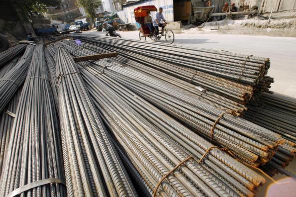 大陸鋼材下滑81%,大陸經濟未見起色。(Getty Images)
