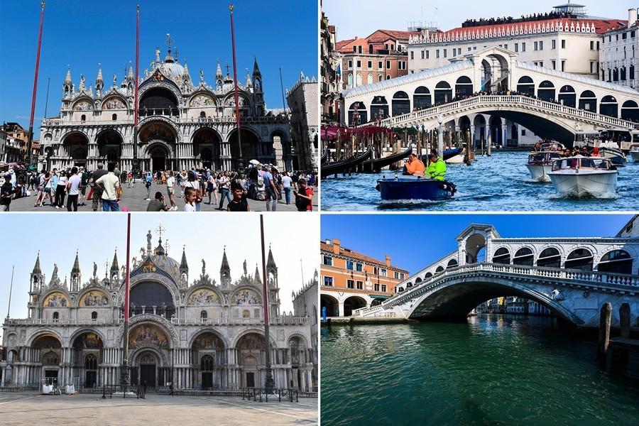 組圖:意大利威尼斯中共肺炎疫情前後對比