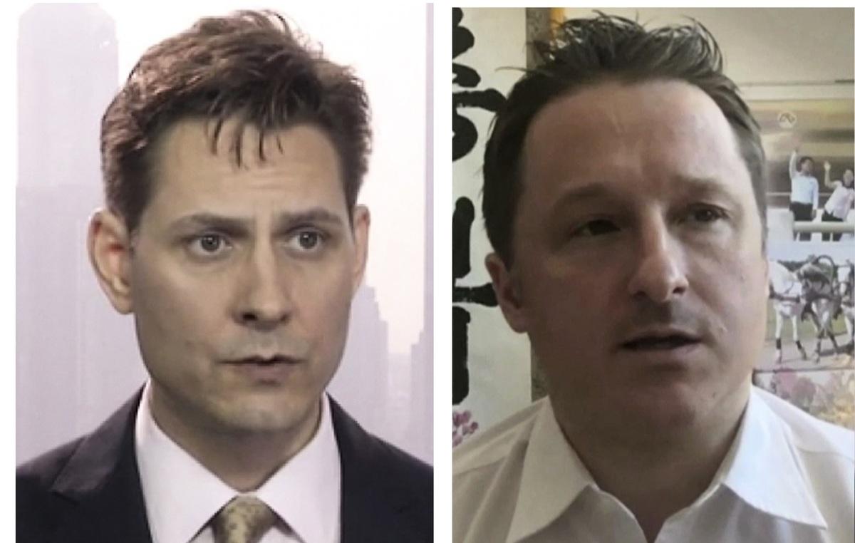加拿大前外交官康明凱(左)和商人斯帕弗(右)在中國被扣押兩年後,中共2020年12月10日首次稱兩人被起訴和審判。(加通社)