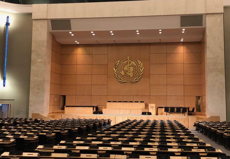 立委王定宇5月11日表示,WHO聽從中共的意志行事,干擾全球防疫,歐美應思考當國際組織被用來反對自由民主時,應該有相應的策略。圖為WHA會場資料照。(中央社)