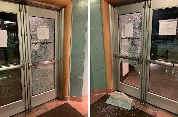 2021年1月20日,位於華盛頓州西雅圖市的威廉·肯佐·中村法院(William Kenzo Nakamura Courthouse)有多處窗戶被打碎。(西雅圖警察局)