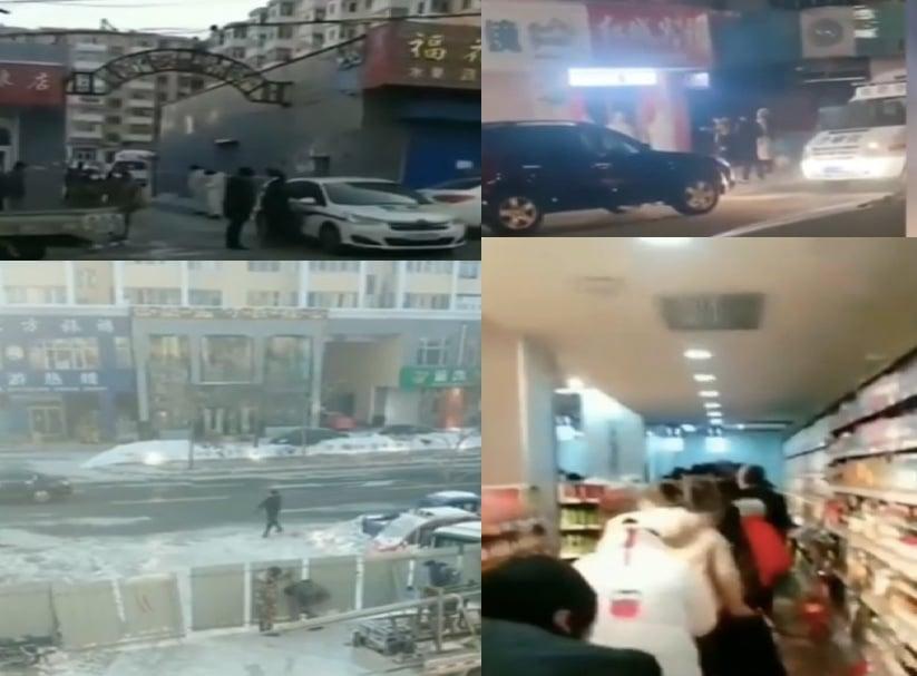 12月10日,黑龍江省東寧市因疫情再度封城,小區也被封鎖。當地民眾到超市搶購。(影片截圖合成)