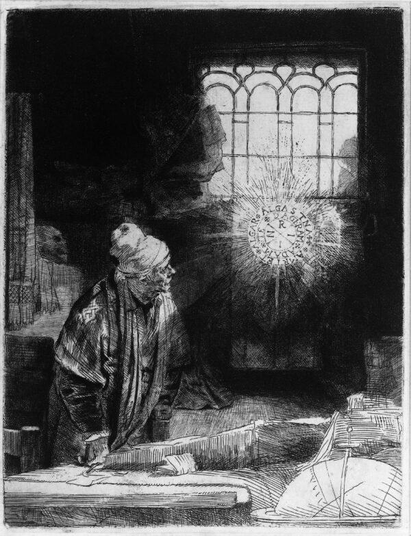 《浮士德》(Faust),大約1652年,作者倫勃朗(Rembrandt),國立博物館(Rijksmuseum),阿姆斯特丹(Amsterdam),荷蘭(Netherlands)。(公共領域)