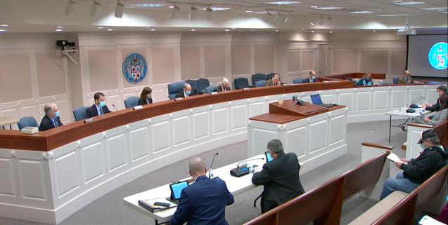 2021年1月27日,美國維珍尼亞州弗雷德里克縣委員會(the Frederick County Board of Supervisors)通過一項決議案。(縣委員會會議影片截圖)