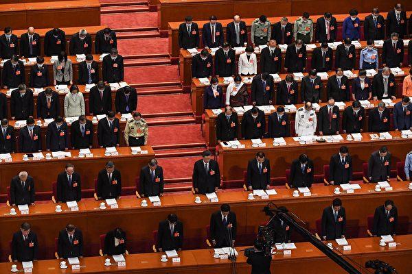 中共當局在5月全國人大會議上通過「港版國安法」草案。圖為2020年5月22日,中共全國人大會議現場。(LEO RAMIREZ/AFP via Getty Images)