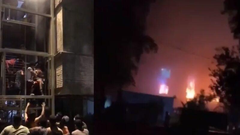 伊拉克首都巴格達東南部,2021年4月24日晚一家專門收治中共病毒疾病病人醫院因氧氣筒爆炸引發大火,造成至少27人死亡。(影片截圖)