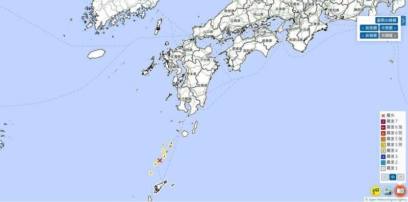 日本鹿兒島縣吐噶喇群島近海從2021年4月9日到11日上午已觀測141次震度一級以上地震。(圖擷取自日本氣象廳)