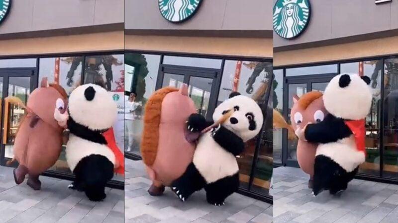 5月10日,江蘇宜興一個商場,兩位扮演卡通玩偶的工作人員發生爭執,並爆發肢體衝突。(影片截圖)