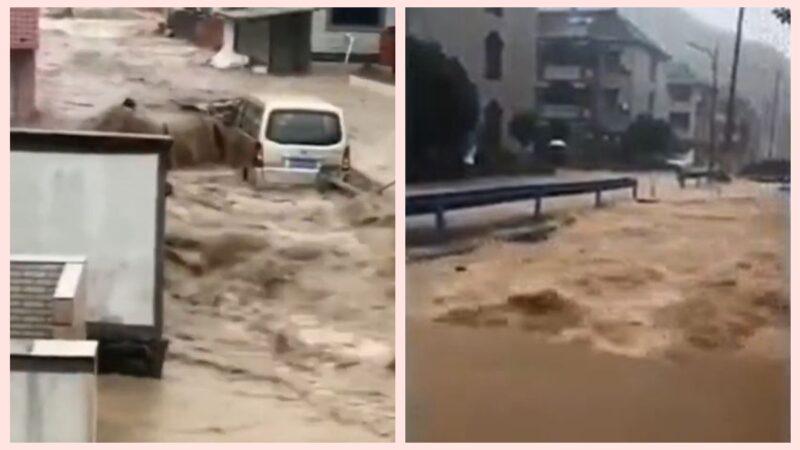 受颱風「煙花」影響,浙江寧波、舟山多處發生海水倒灌,險情不斷。杭州蕭山也遭遇暴雨襲擊,村民說,30年沒見過這麼大洪水。(影片截圖)