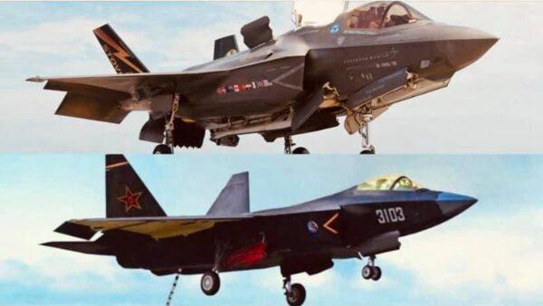 美國海軍研究協會「Facebook」對照中共FC-31戰機和美國F-35戰機,戲稱兩架戰機「撞臉」(美國海軍研究協會Facebook)