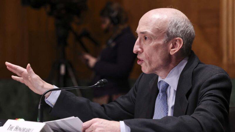 美國證券交易委員會(SEC)主席詹斯勒(Gary Gensler)資料照。(EVELYN HOCKSTEIN/POOL/AFP via Getty Images)