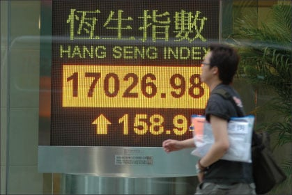 香港恆生指數昨日收盤報17026.98點,上升158.94點,升幅0.94%,全日成交金額392.5億港元,創下2000年9月以來5年半新高,市值突破10萬億港元。(中央社)