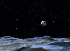 假想圖,從冥王星衛星的冥王星(中) (Getty Images/NASA)