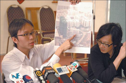環保觸覺主席譚凱邦表示,西九龍沿海將被一棟棟高聳的大廈包圍,成為「屏風樓」重災區。(大紀元記者潘璟橋攝)