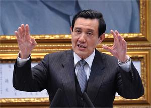 右圖 國民黨主席馬英九昨日在中央常務委員會說,日本核災給台灣檢視核能安全機會,並喊出「我愛台灣,我要核安」口號,以「沒有核安,就沒有台灣」心態做準備。(中央社)