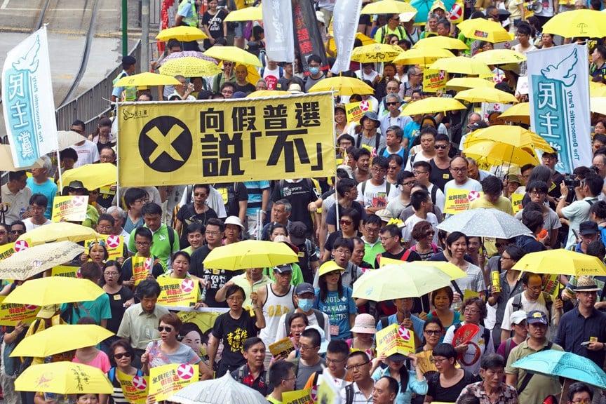 政改方案在立法會表決倒數三日,3,500 人參與民陣等團體發起的遊行,拒絕假普選。(潘在殊/大紀元)