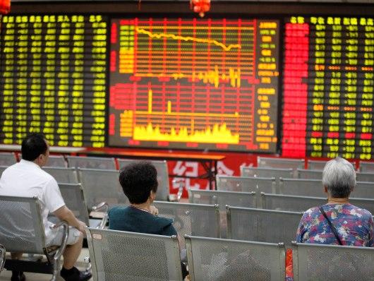 繼星期一大陸股市創下八年來最大跌幅後,昨日深滬兩市繼續下跌。(Getty Image)