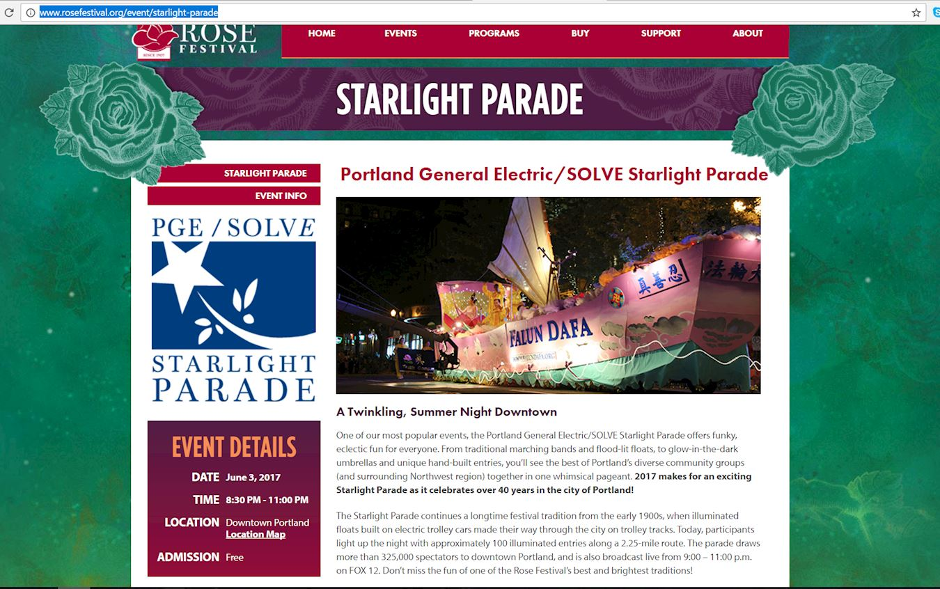 星光遊行的官方網站將法輪功的花車的照片放在主頁。(明慧網)