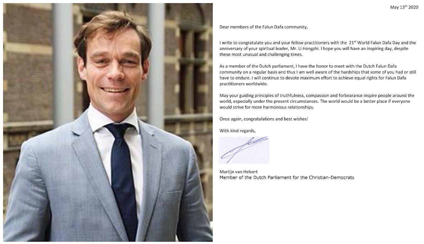 荷蘭議員馬岱·海爾菲德先生(Martijn Helvert)發賀信祝賀世界法輪大法日,及李洪志先生華誕。(明慧網)